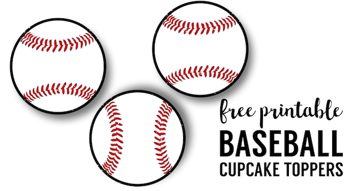 Baseball Cupcake Toppers Free Printable - Paper Trail Design