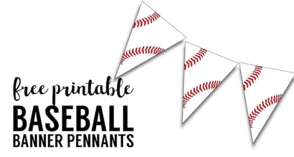 Free Printable Baseball Banner, baseball party decorations. Baseball themed birthday party, baseball baby shower, or little league baseball team party decor.