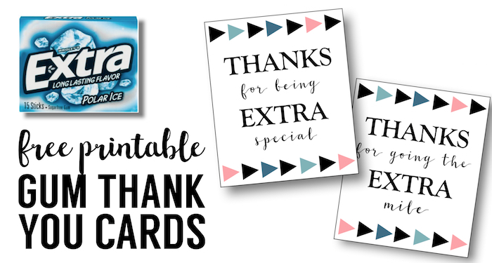 image about Extra Gum Teacher Appreciation Printable identify More Gum Thank Yourself Printable - Paper Path Style