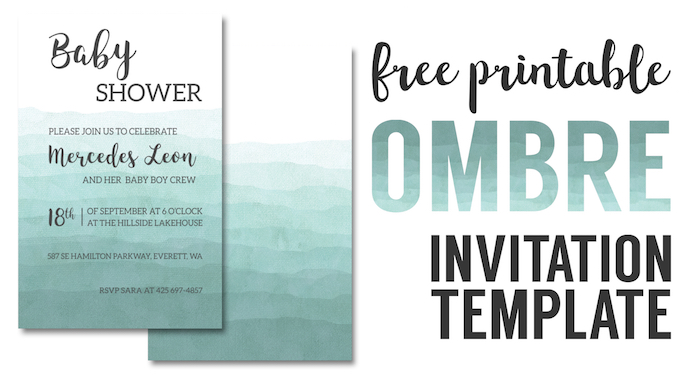 Ombre Invitation Templates Free Printable Paper Trail Design – Free Printable Blank Wedding Invitation Templates