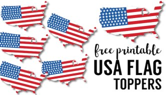 USA Flag Printables {July 4th Crafts}. 4th of July party decorations for outdoors or indoors. DIY free printables july 4th patriotic country outline cupcake topper.