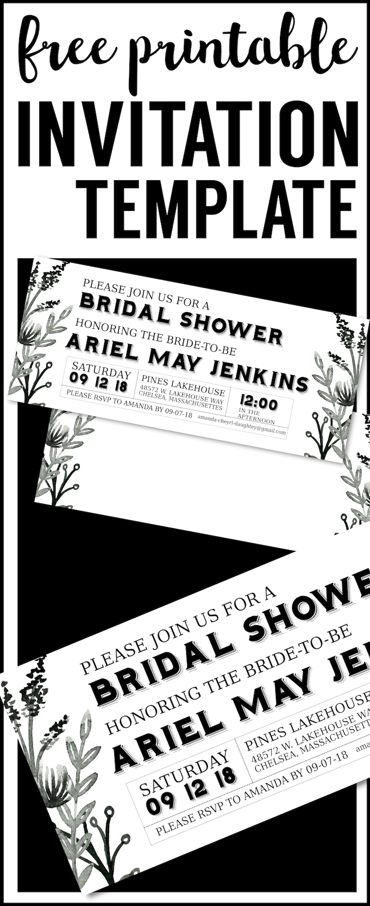 black-white-floral-invitation-template-long - Paper Trail Design