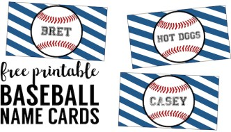 Baseball Place Card Holders Free Printable. Easy DIY Baseball decorations for a baseball birthday party, baseball baby shower, world series party, or team party.