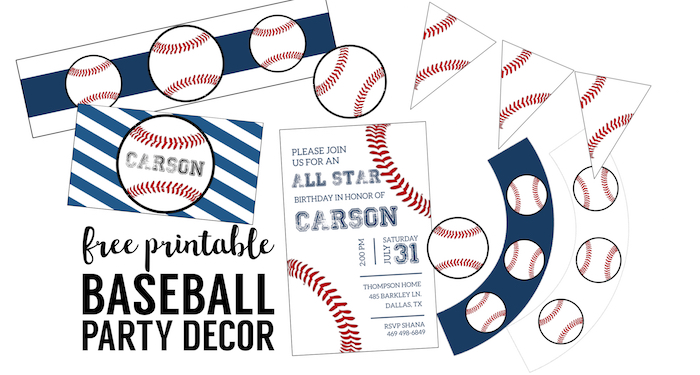 graphic relating to Printable Decorations identified as Cost-free Baseball Printables Baseball Celebration Decorations