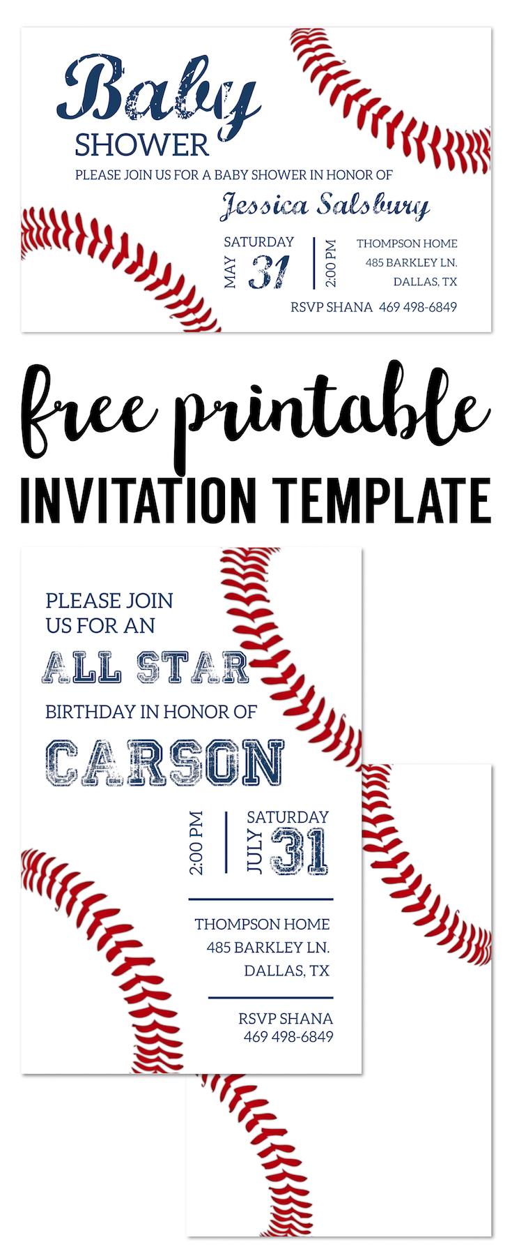 Baseball invitation template long paper trail design baseball party invitations free printable baseball invitation template for a diy baseball birthday party stopboris Choice Image