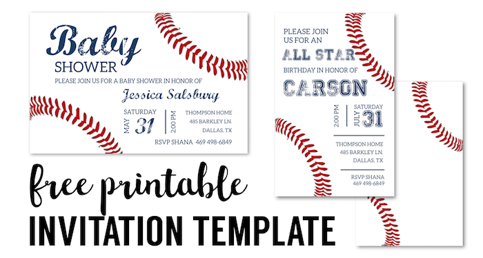 image relating to Free Printable Baseball Baby Shower Invitations called Baseball Get together Invites No cost Printable - Paper Path Structure