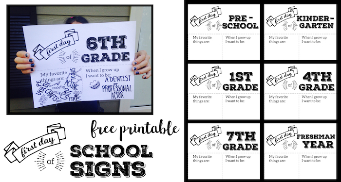 photo relating to Printable Signs called Initially Working day of Faculty Indicator Printable - Paper Path Design and style