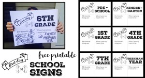 First Day of School Sign Printable. Back to School printable signs for the first day of school pictures. First day of school sign free printable.