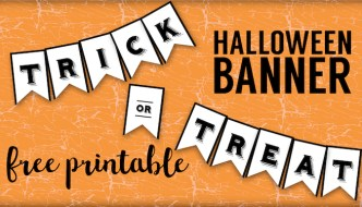 Trick or Treat Banner {Free Printable Halloween Crafts}. Easy Halloween party decorations. Trick Treat Halloween banner printable. Cheap DIY Halloween decorations.