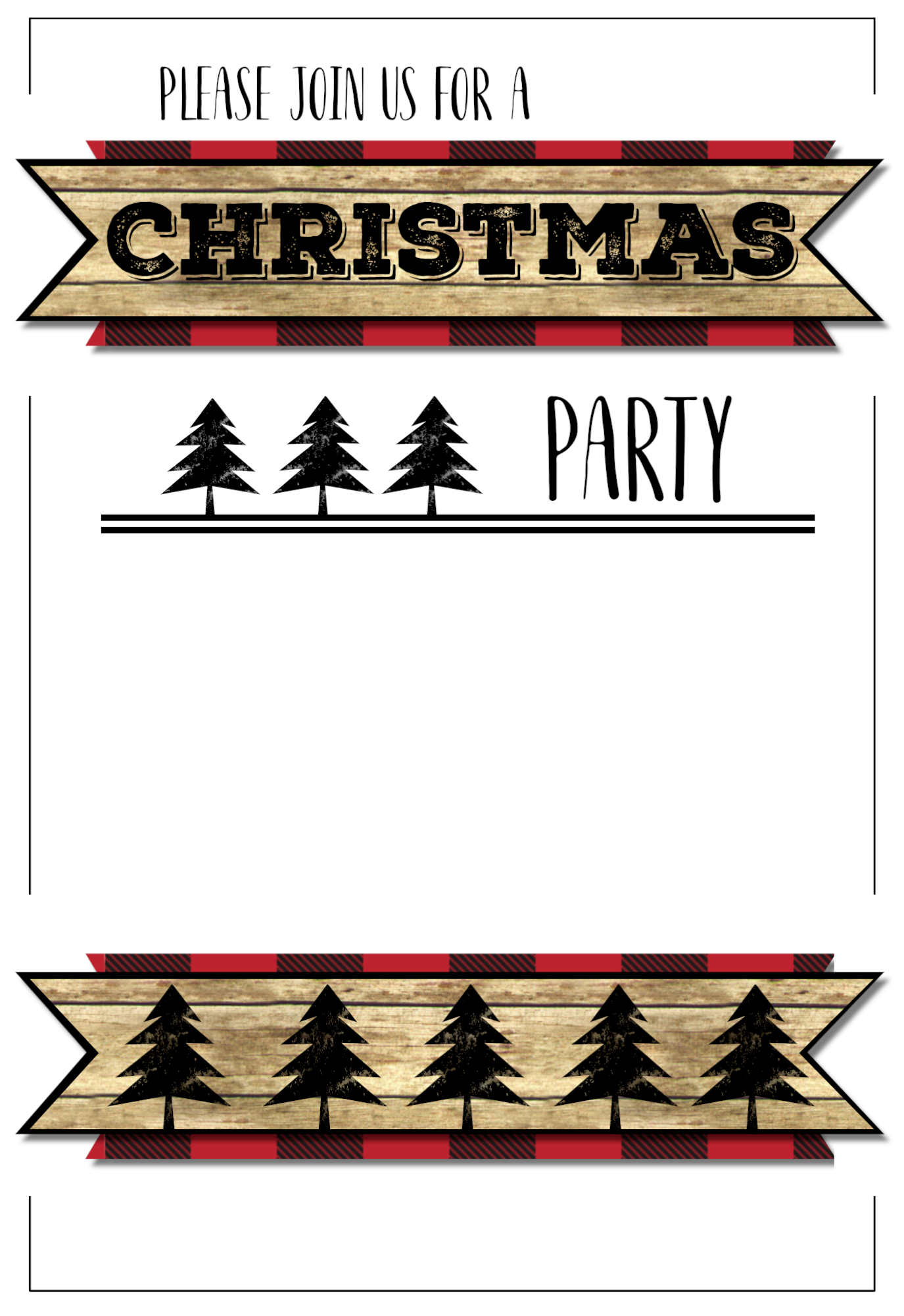 Christmas Party Invitation Templates Free Printable. Easy To Customize Christmas  Party Lumberjack Invitation.  Christmas Invite Template Free