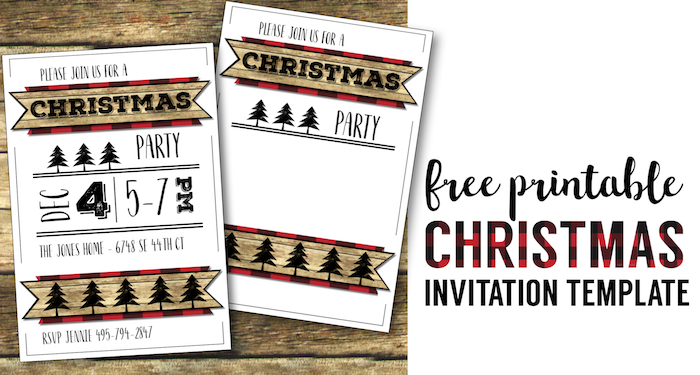 Christmas Party Invitation Templates Free Printable Paper Trail Design