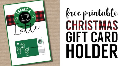 Easy Teacher Christmas Gift Idea {Starbucks Gift Card}. Cute teacher gift free printable Starbucks gift card holder. Thanks a latte gift card printable.