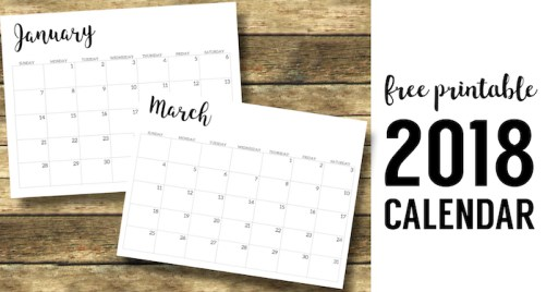 2018 Calendar Printable Free Template. 2018 monthly free printable wall or desk calendar. Hand lettered from January through December help you get organized. #papertraildesign #organization #2018calendar