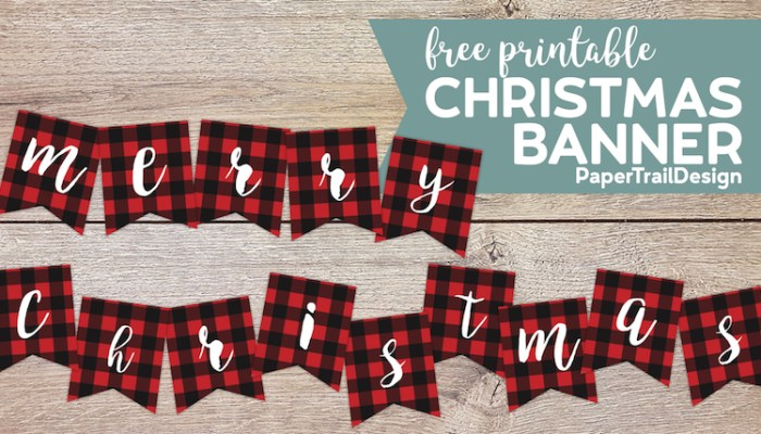 Plaid Merry Christmas Banner letters on a wood background with text overly- free printable Christmas banner