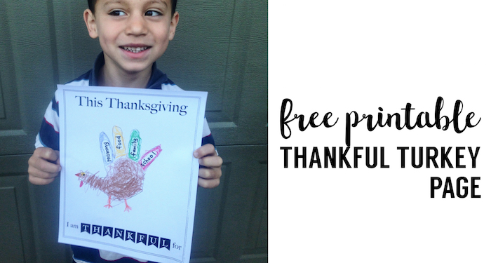 I am Thankful Printable Turkey Handprint Craft