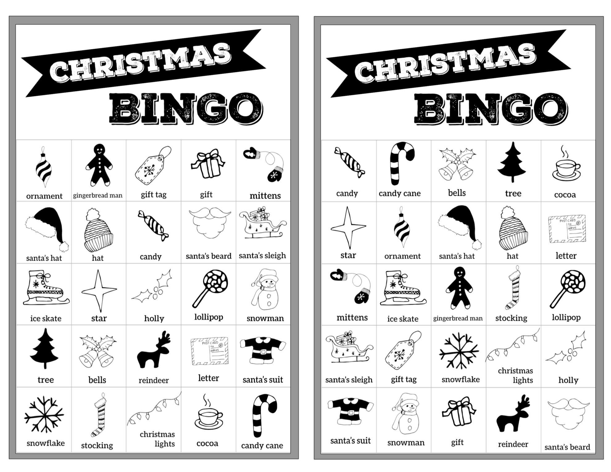 Shocking image regarding holiday bingo printable