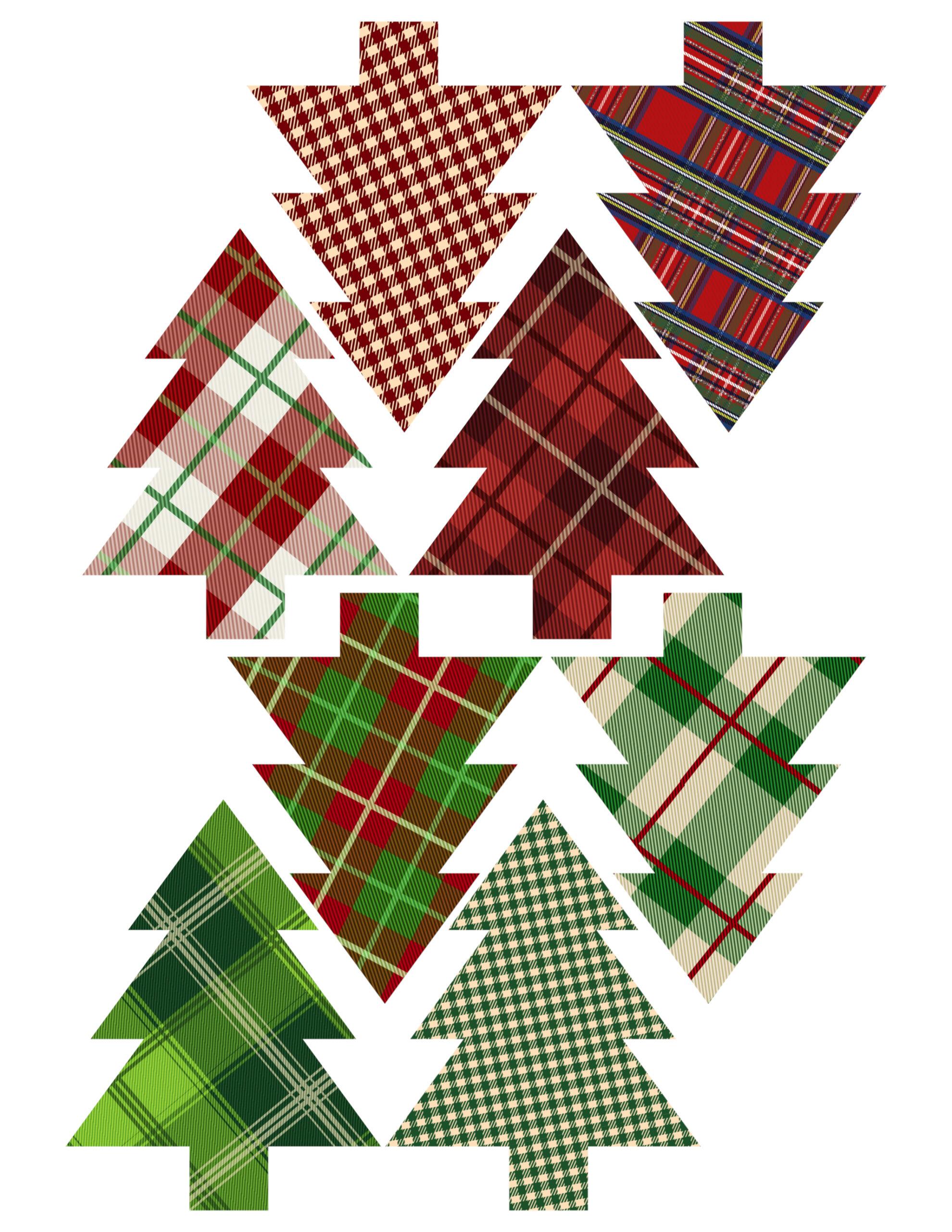 Plaid Christmas Tree Ornaments Printable
