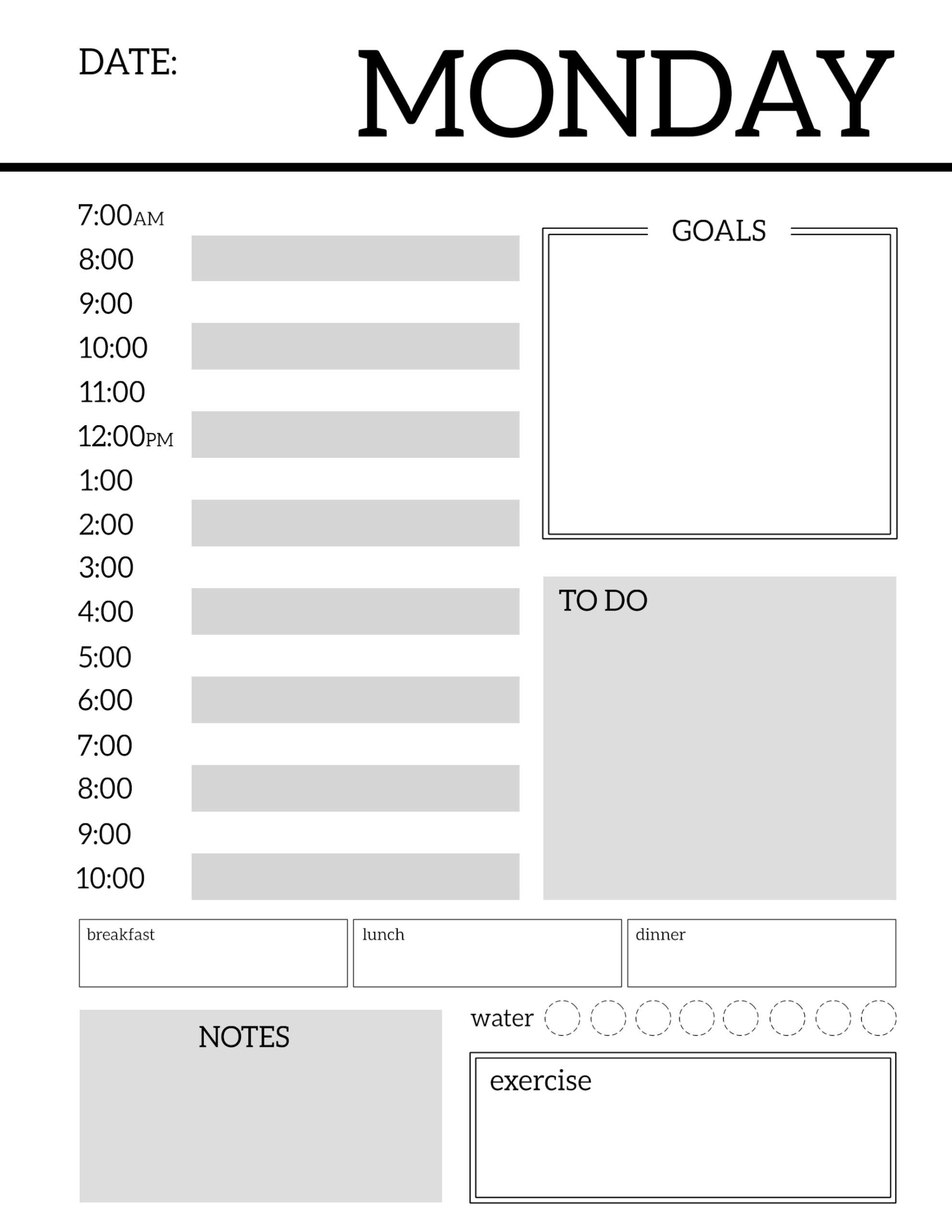 photo relating to Printable Planner called Day-to-day Planner Printable Template Sheets - Paper Path Style and design