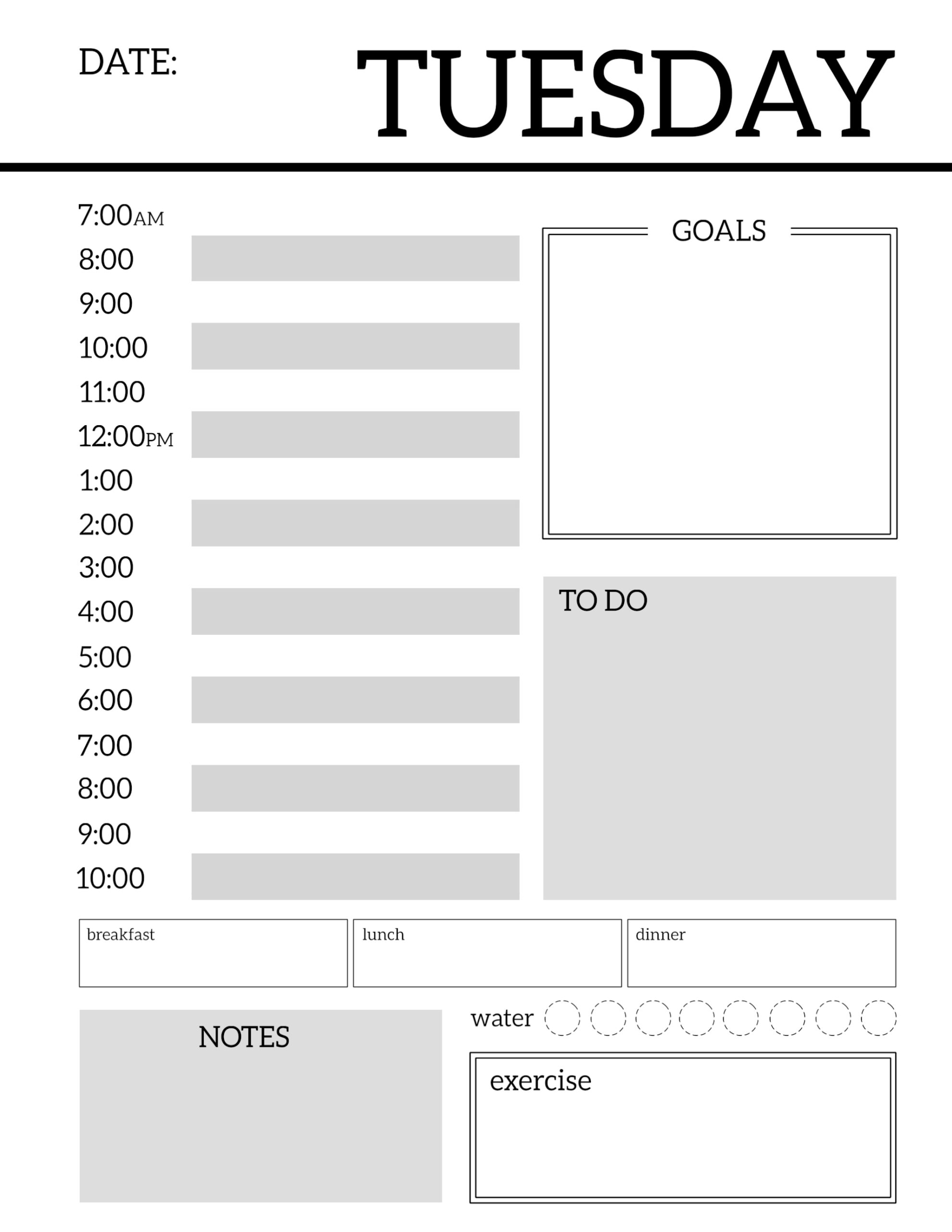 Daily Calendar Design : Daily planner printable template sheets paper trail design