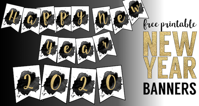 picture relating to Happy New Years Banner Printable identified as Totally free Printable Delighted Contemporary Calendar year Banner - Paper Path Style