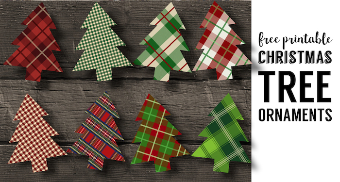graphic about Free Printable Christmas Ornament Patterns called Plaid Xmas Tree Ornaments Printable - Paper Path Style
