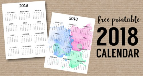 Calendar 2019 Printable One Page - Paper Trail Design