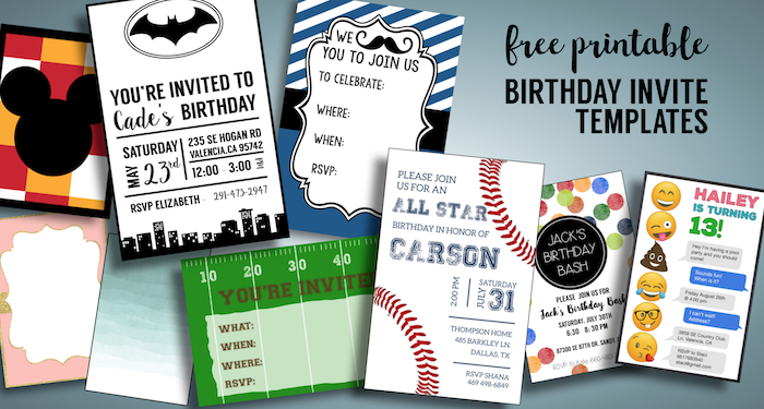 Birthday Invitations Free Printable Templates Boy Or Girl Kid Party Invite Downloads 1st