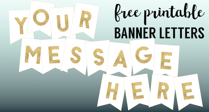 image about Printable Letters for Banners named Gold Cost-free Printable Banner Letters - Paper Path Structure