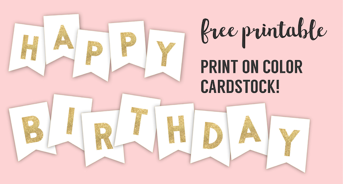 photograph about Printable Cardstock named Joyful Birthday Banner Printable Template - Paper Path Style