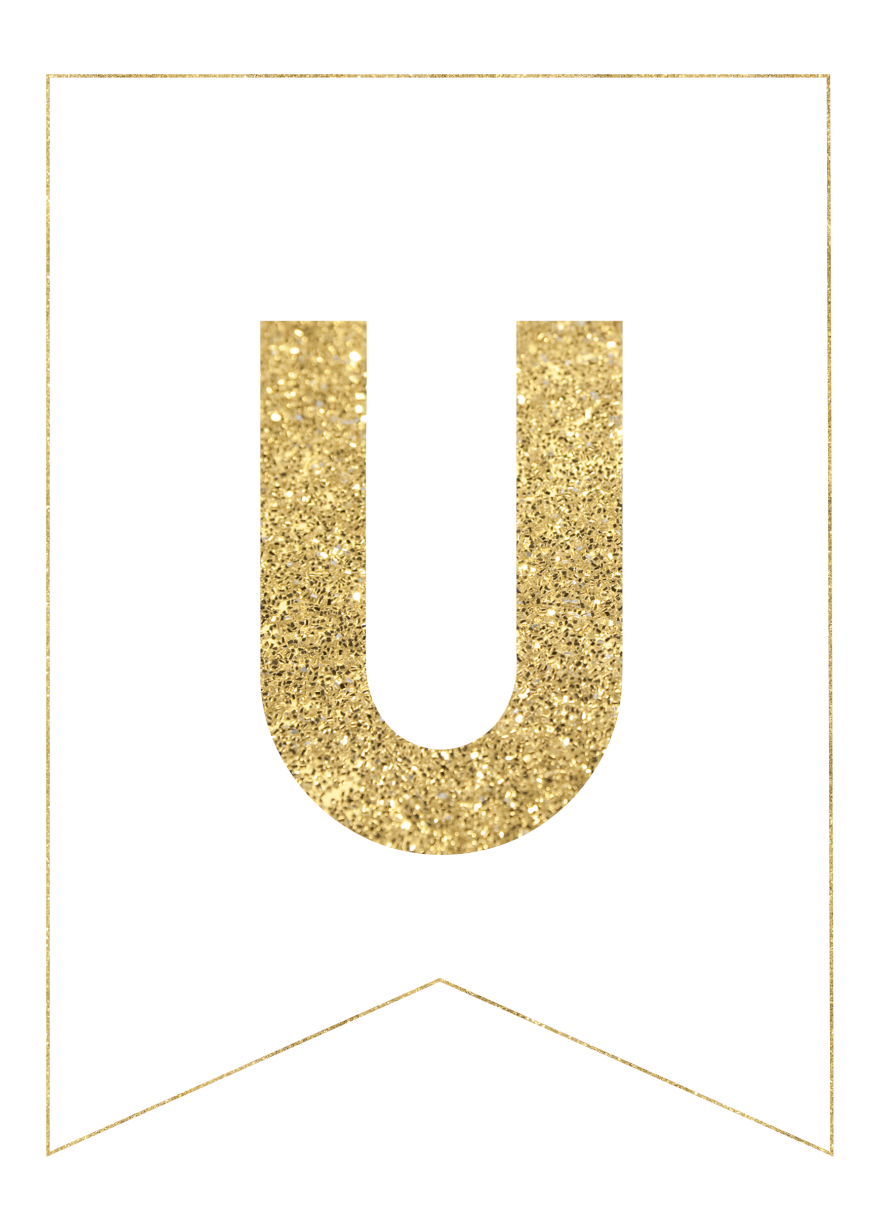 photograph relating to Printable Letter U referred to as Gold Free of charge Printable Banner Letters - Paper Path Style
