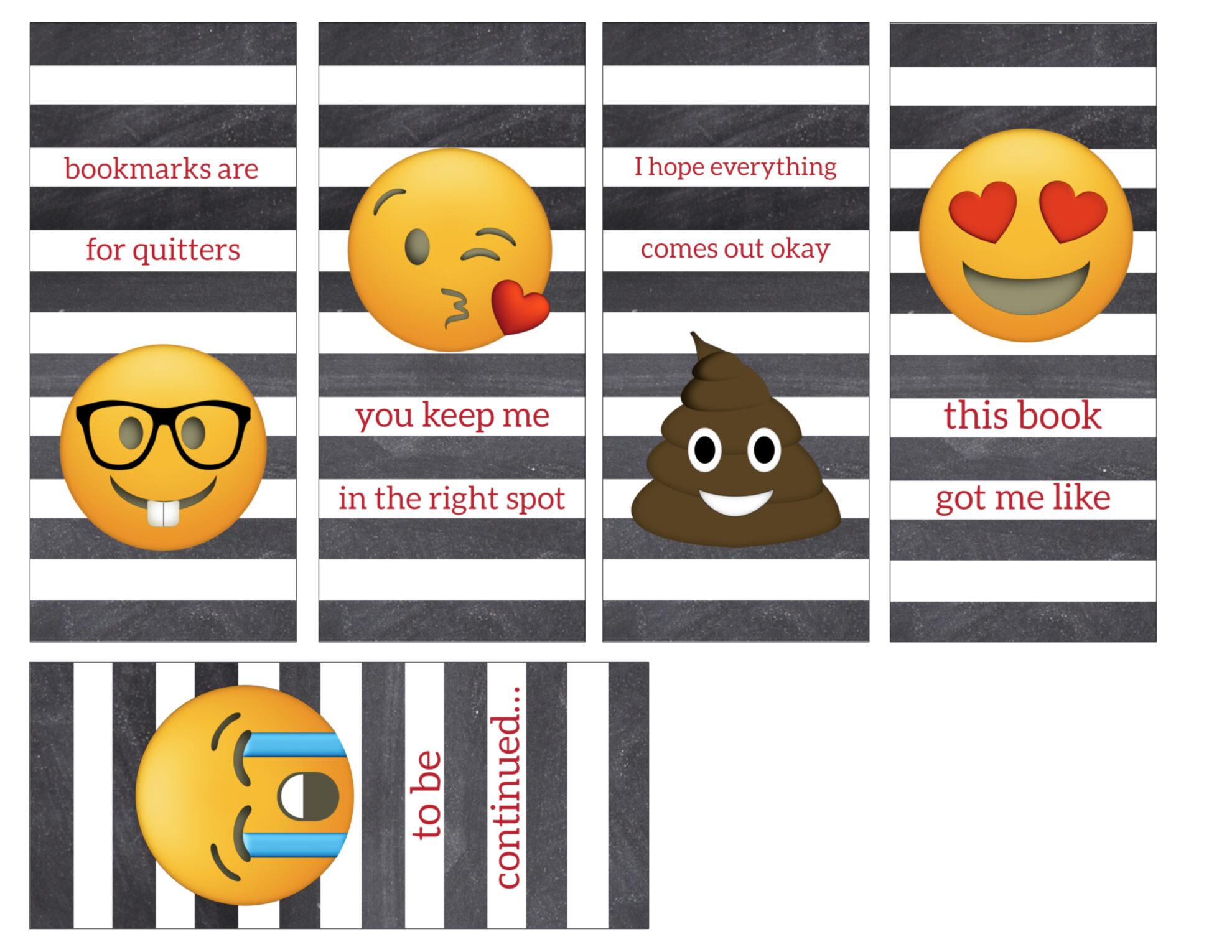 Emoji Bookmarks - Free Printable Bookmarks - Paper Trail ...