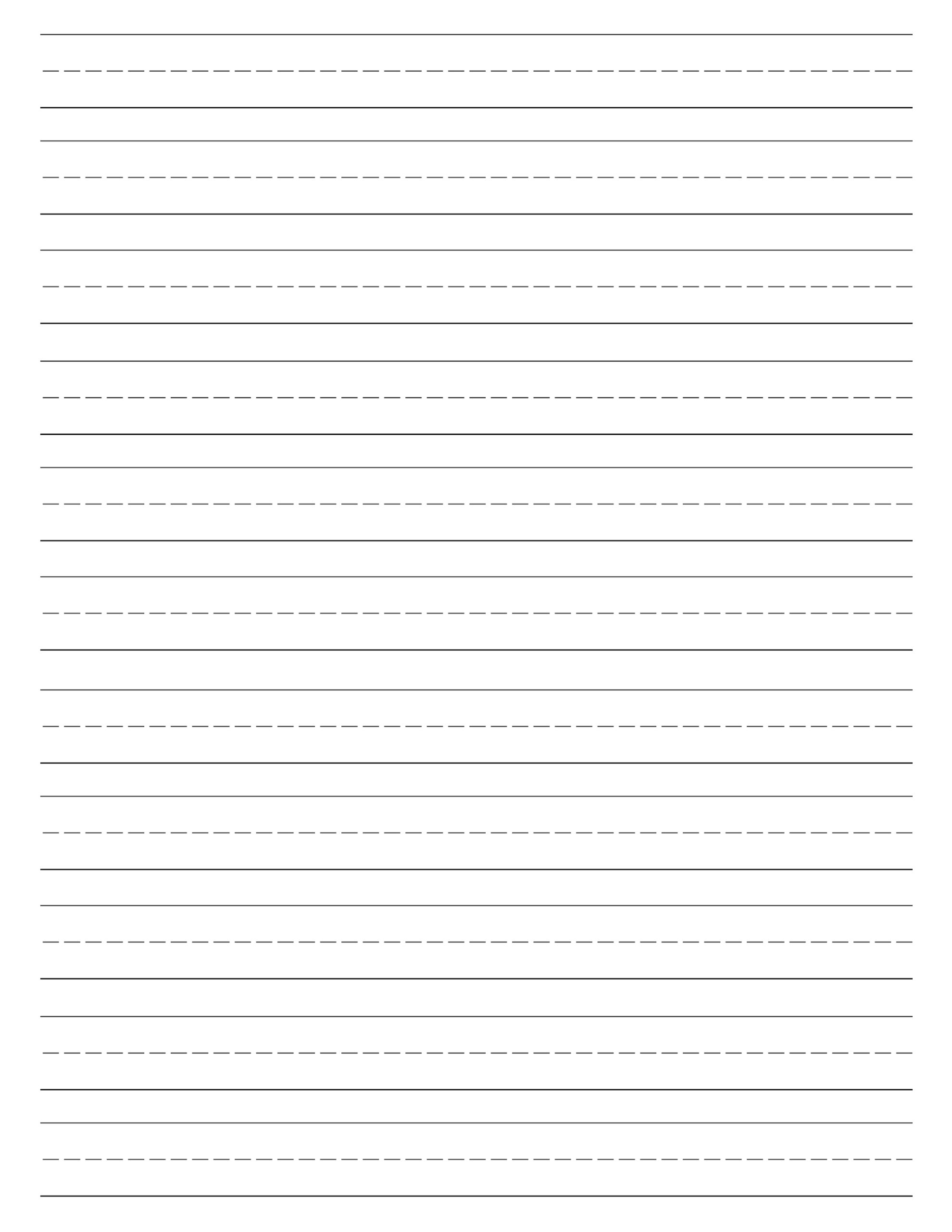 Printable Lined Paper For Kindergarten Writing Custom