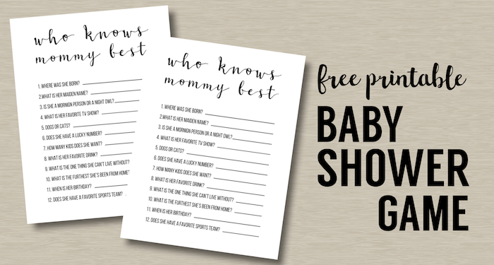 Free Baby Shower Games Printable Animal Pregnancies Paper Trail