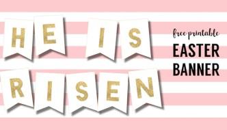 DIY Religious He is Risen Banner Free Printable. Christian banner sign for Easter Sunday decoration. Easy Easter resurection decor. #papertraildesign #eastercrafts #easterdecor #DIYeaster