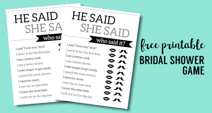 Free Printable Wedding Shower Games He Said She Said