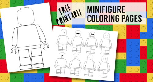 Free Printable Lego Coloring Pages. Free lego minifigure coloring pages for a lego birthday party. Blank lego page to draw your own face. #papertraildesign #legocoloringpage #legoparty #legobirthdayparty