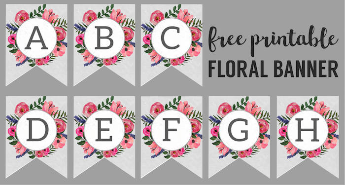 Floral Alphabet Banner Letters Free Printable. DIY flower banner letters. Make a custom banner for a birthday party, baby shower, or spring holiday. #papertraildesign #floral #freeprintable #spring