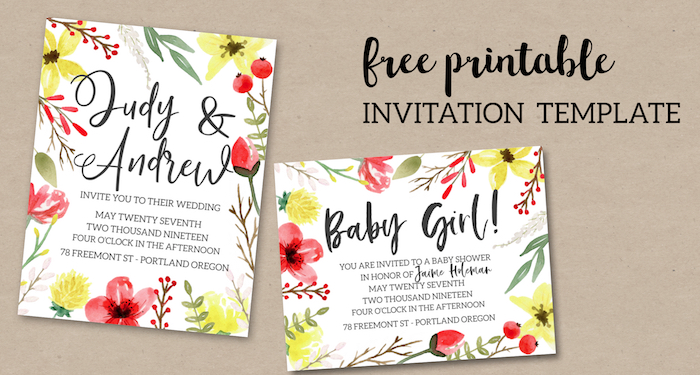 Pink & Yellow Flowers Free Printable Invitation Template - Paper ...
