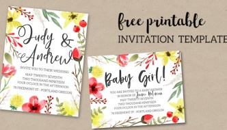 Pink & Yellow Flowers Free Printable Invitation Template