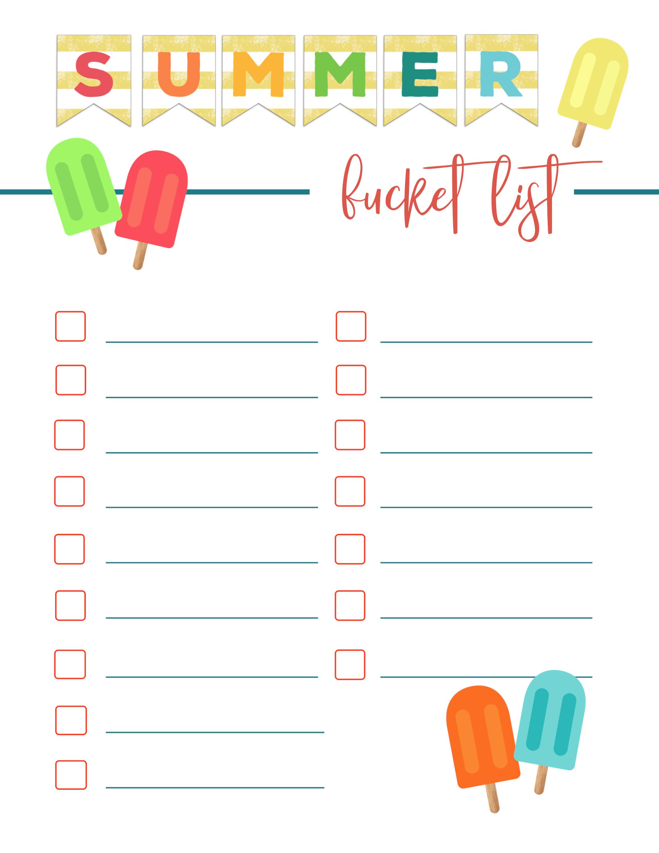 Free Printable Summer Bucket List Ideas Template