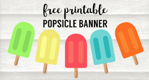 Popsicle Summer Banner Decor Free Printable. Fun summer decor for a barbecue, last day of school party, memorial day printable, or 4th of July. #papertraildesign #summer #partydecor #barbecue