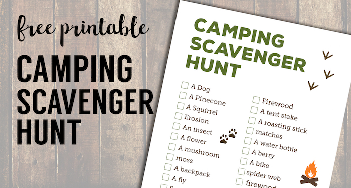 graphic relating to Printable Nature Scavenger Hunt named Tenting Scavenger Hunt Printable - Paper Path Style and design