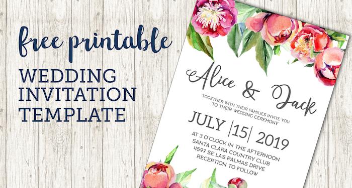 Free Wedding Invitation Template Floral Peonies