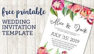 Free Wedding Invitation Template {Floral Peonies}