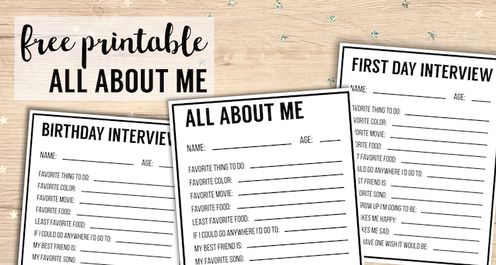 image regarding Free Printable All About Me Worksheet referred to as All Pertaining to Me Printables Job interview Template - Paper Path