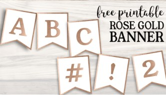 Free Printable Rose Gold Banner Template
