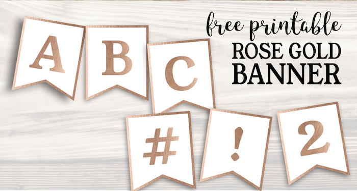 Free Printable Rose Gold Banner Template. Banner alphabet letters to make a custom party banner for a birthday, wedding, baby shower, or event. #papertraildesign #party #partydecor #partydecoration