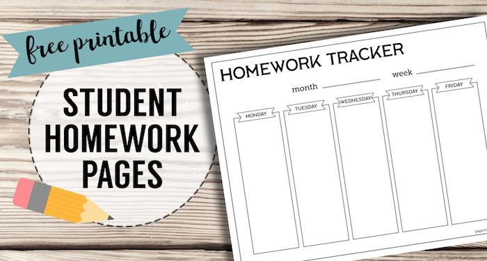 Free Printable Student Homework Planner Template - Paper Trail Design