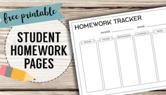 Free Printable Student Homework Planner Template