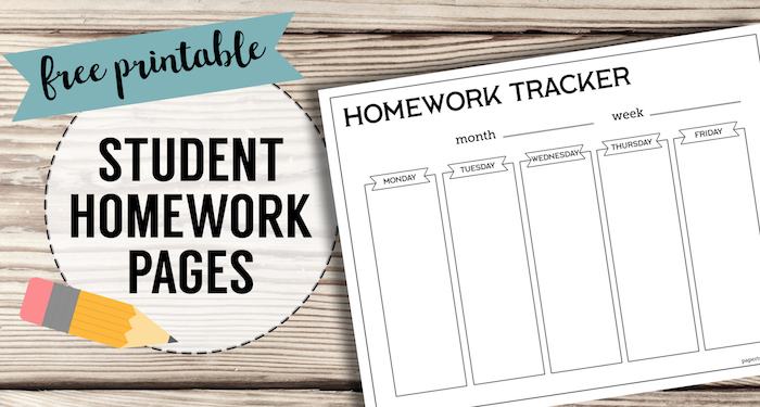 Free Printable Student Homework Planner Template. Help kids remember and organize their homework with these homework tracker pages. #papertraildesign #homework #school #studentorganization
